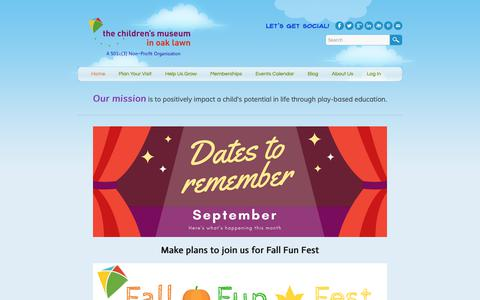 Screenshot of Home Page cmoaklawn.org - Children's Museum in Oak Lawn - Home - captured Sept. 27, 2018