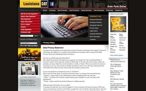 Screenshot of Privacy Page louisianacat.com - Louisiana Cat - captured Oct. 3, 2014