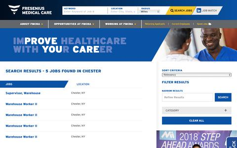 Screenshot of Jobs Page fmcna.com - Search Chester Jobs at FRESENIUS - captured April 17, 2019