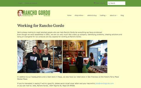 Screenshot of Jobs Page ranchogordo.com - Working for Rancho Gordo - captured Feb. 10, 2016