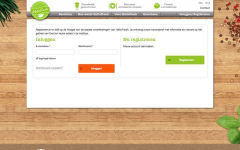 Screenshot of Login Page hellofresh.nl - Inloggen of registreren | HelloFresh - captured Oct. 27, 2014