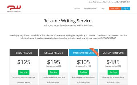 Screenshot of Services Page resumeprofessionalwriters.com - Top Resume Writing Services from Resume Professional Writers - captured June 17, 2017