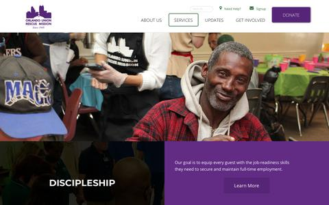 Screenshot of Services Page ourm.org - Services – Orlando Union Rescue Mission - captured Nov. 15, 2017