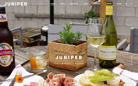 Screenshot of Home Page junipershop.com - JUNIPER   Bar+Market+Bistro - captured Aug. 6, 2015