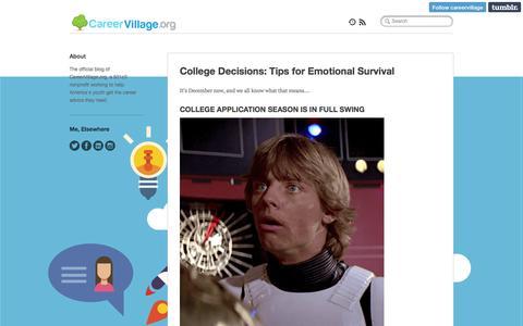 Screenshot of Blog careervillage.org - CareerVillage.org Blog - captured Jan. 25, 2016