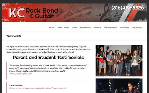 Screenshot of Testimonials Page kcrockband.com - Reviews of KC Rock Band & Guitar - captured Aug. 6, 2015