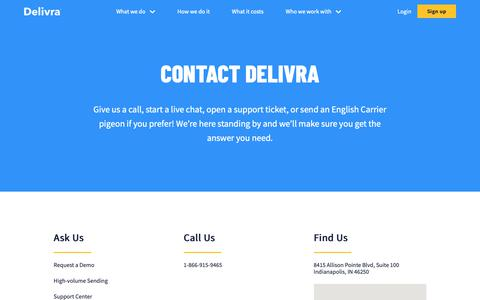 Screenshot of Contact Page delivra.com - contact | Delivra - captured June 12, 2019