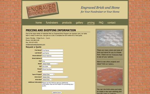 Screenshot of Pricing Page engravedbrickpavers.com - Engraved Brick Pavers - pricing - captured Oct. 3, 2014