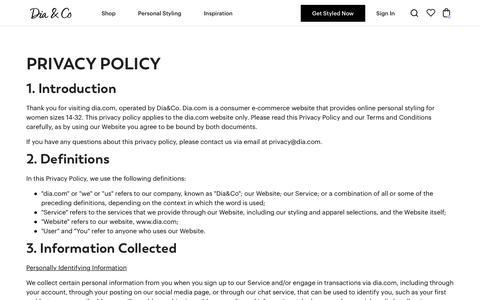 Screenshot of Privacy Page dia.com - Privacy Policy | Dia&Co - captured Nov. 21, 2019