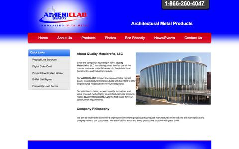 Screenshot of About Page americlad.com - About Us - Quality Metalcrafts, LLC - AMERICLAD® Products - Architectural Metal Products - 1-866-260-4047 - captured Oct. 3, 2014