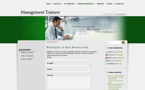 Screenshot of Signup Page management-trainers.com - Newsletter Signup - captured Oct. 27, 2014