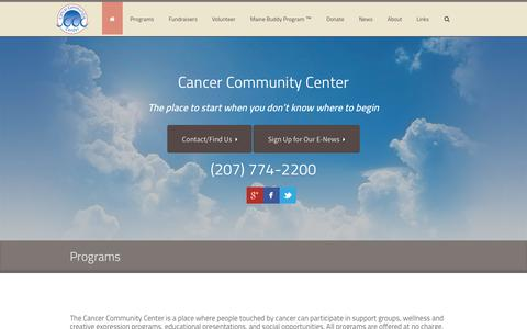 Screenshot of Home Page cancercommunitycenter.org - Cancer Community Center | The place to start when you don't know where to begin - captured July 18, 2015