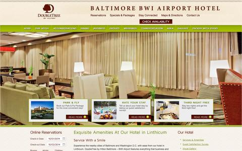 Screenshot of Services Page doubletreebwiairporthotel.com - Hotel in Linthicum | DoubleTree Baltimore BWI Airport - captured Oct. 1, 2014