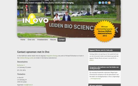 Screenshot of Contact Page inovo.nl - Contact | In Ovo - the Eggsperts - captured Oct. 4, 2014