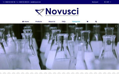 Screenshot of Contact Page novusci.com - Contact Us - Novusci - Scientific Consumables/Equipment - captured Oct. 20, 2018