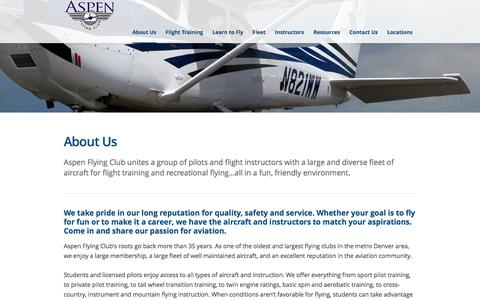 Screenshot of About Page aspenflyingclub.com - Pilots renting and flying a large and diverse fleet of aircraftAspen Flying Club - captured May 30, 2017