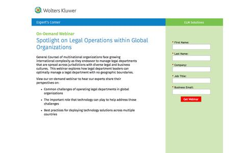 Screenshot of Landing Page datacert.com - Webinar: Spotlight on Legal Operations within Global Organizations - captured Aug. 17, 2016