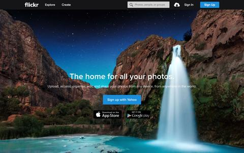 Screenshot of Home Page flickr.com - Flickr, a Yahoo company | Flickr - Photo Sharing! - captured Jan. 12, 2016