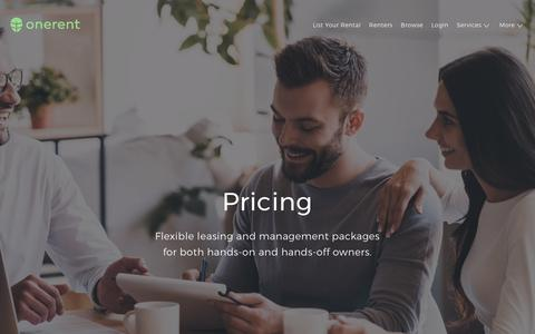 Screenshot of Pricing Page onerent.co - Leasing and Property Management Fees | Onerent - captured June 3, 2017