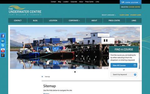 Screenshot of Site Map Page theunderwatercentre.com - Sitemap, The Underwater Centre Fort William and Tasmania - captured Nov. 13, 2016