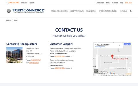 Screenshot of Contact Page trustcommerce.com - Contact Us | TrustCommerce - captured Sept. 28, 2016
