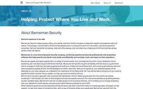 Screenshot of About Page bannerman.com - Security Guard Services - Bannerman - captured Jan. 21, 2017