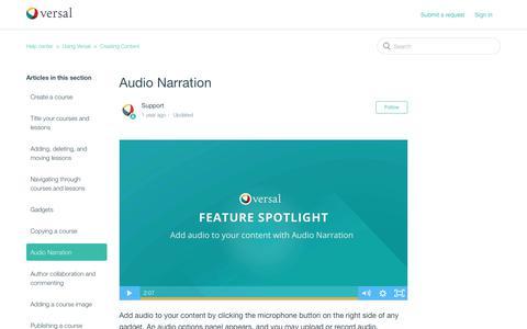 Screenshot of Support Page versal.com - Audio Narration – Help center - captured Dec. 3, 2019