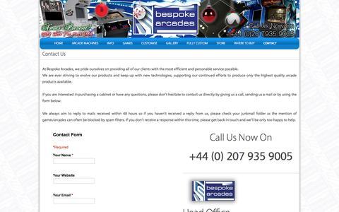 Screenshot of Contact Page bespoke-arcades.co.uk - Arcade Machines custom-built for you! | Bespoke Arcades - captured Jan. 1, 2016