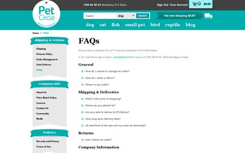Screenshot of FAQ Page petcircle.com.au - FAQs | Pet Circle - captured July 19, 2014