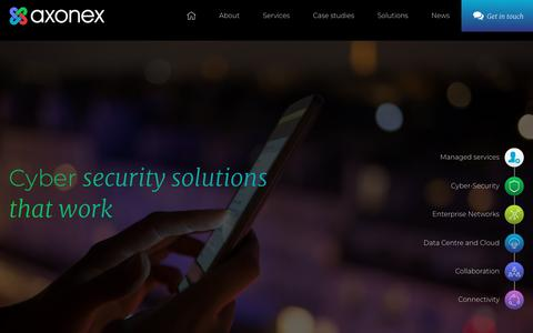 Screenshot of Home Page axonex.com - Axonex | Managed IT Services, Data Centre, Cyber Security Specialists - captured July 31, 2018