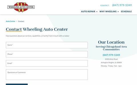 Screenshot of Contact Page wheelingautocenter.com - Contact Our Auto Experts   Wheeling Auto Center - captured Oct. 7, 2019