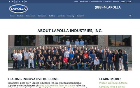 Screenshot of About Page lapolla.com - About Lapolla Industries, Inc.   Insulation Manufacturer & Supplier - captured Dec. 7, 2018