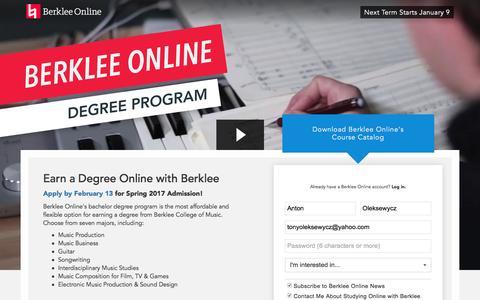 Screenshot of Landing Page berklee.edu - Earn a Degree Online with Berklee - captured Dec. 24, 2016