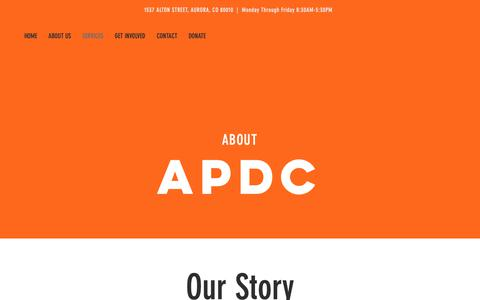 Screenshot of Services Page apdc.org - apdc | SERVICES - captured Oct. 2, 2018