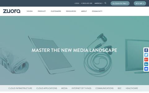 Screenshot of Press Page zuora.com - Solutions for the Media industry - Zuora - captured March 13, 2017