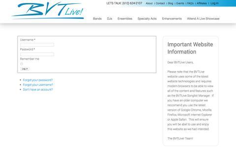 Screenshot of Login Page bvtlive.com - Login - captured July 28, 2016