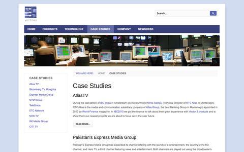 Screenshot of Case Studies Page vector3.tv - Case Studies - captured Oct. 26, 2014