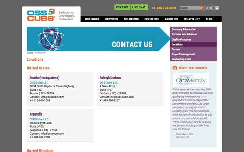 Screenshot of Contact Page Locations Page osscube.com - Locations: OSSCube Contact Locations, OSSCube Locations - captured Oct. 25, 2014