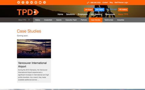 Screenshot of Case Studies Page tpd.com - Case Studies | TPD | Workforce & HR Solutions - captured Jan. 26, 2016