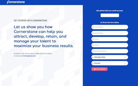 Screenshot of Landing Page cornerstoneondemand.com - Request a Demo | Cornerstone - captured Oct. 22, 2019