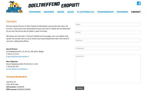 Screenshot of Contact Page toernooivoetbal.nl - Contact - captured Sept. 21, 2018