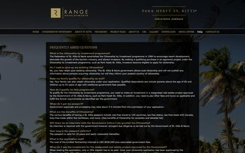 Screenshot of FAQ Page rangedevelopments.com - Park Hyatt Stkitts - FAQs - captured Oct. 9, 2014