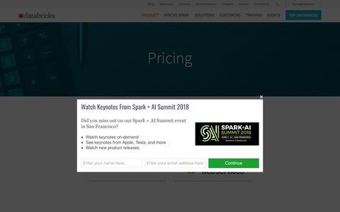 Screenshot of Pricing Page databricks.com - Pricing - Databricks - captured June 13, 2018