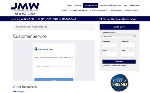 Screenshot of Support Page jmwinsurancesolutions.com - Customer Service | JMW Insurance Solutions - captured May 27, 2017