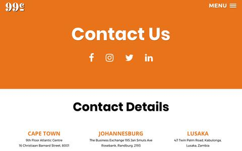 Screenshot of Contact Page 99c.co.za - Contact Us | 99c Advertising & Communications Agency - captured Oct. 23, 2017