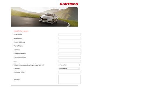 Screenshot of Landing Page eastman.com - Contact Us Form - captured Aug. 19, 2016