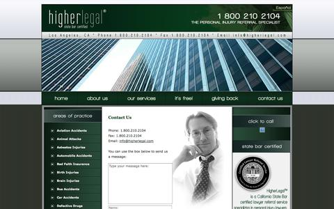 Screenshot of Contact Page higherlegal.com - Contact Us | HigherLegal - captured Sept. 30, 2014