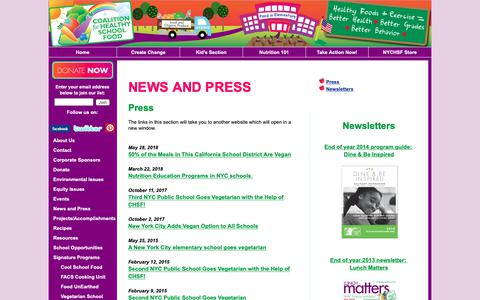 Screenshot of Press Page healthyschoolfood.org - News: NY Coalition for Healthy School Food - captured Oct. 19, 2018