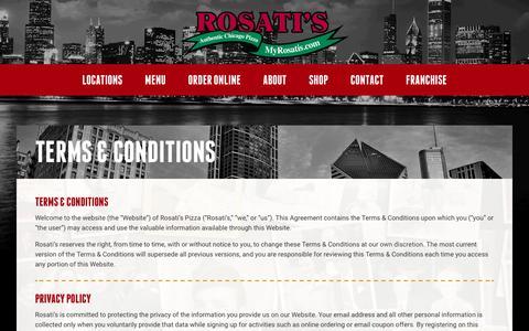Screenshot of Terms Page myrosatis.com - Terms & Conditions | Rosati's Pizza - captured Nov. 19, 2016