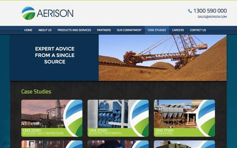 Screenshot of Case Studies Page aerison.com - Aerison :: Case Studies - captured Oct. 4, 2014